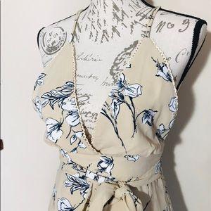 kaecy Dresses - Plunging Neckline Floral Dress